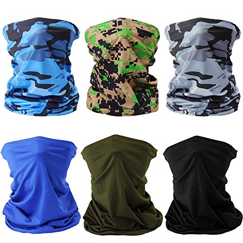 ONESING 6 Pcs Neck Gaiter for Men Cooling Neck Gaiter Face Cover Sun UV Protection Face Scarf Bandanas for Men Women for Cycling Runing Hiking Fishing