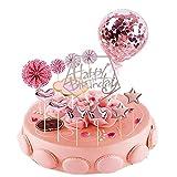 JINCHENG Happy Birthday Cake Topper Decoración 13 Piezas Decoracion Tarta Cumpleaños,para Niñas Niños Mujeres Hombre,Estrellas Cake Cupcake Topper Suministros de Purpurina para Fiestas (Pink pentagon)