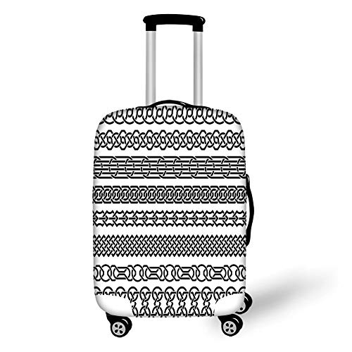 Travel Luggage Cover Suitcase Protector,Irish,Vintage Borders in The Form of Celtic Classical Ornaments Horizontal Striped Pattern,Black White,for Travel,M