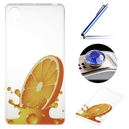 Sony Xperia X Coque, Etsue pour Sony Xperia X Vogue Gel Housse étui de téléphone mobile ,TPU Silicone Matériau Transparente Ultra Mince Supérieur Semi Transparent Doux Coque [Citron] Motif pour Sony Xperia X + Gratuit 1 x Bleu stylet + 1 x Bling poussière plug (couleurs aléatoires)