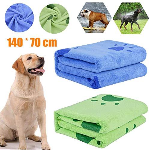 bangminda Hundehandtuch, 2 Pack Großer Weich Hunde Handtuch, Microfiber Schnelltrocknend Warm Haustierhandtuch Hunde-Badehandtuch für Hunde Katzen 140 x 70 cm
