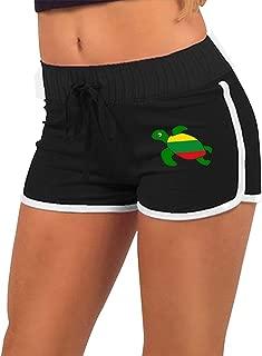 Womens Sexy Mini Shorts Sea Turtle Ethiopian Flag Torso Silhouette Gym Workout Raves Shorts