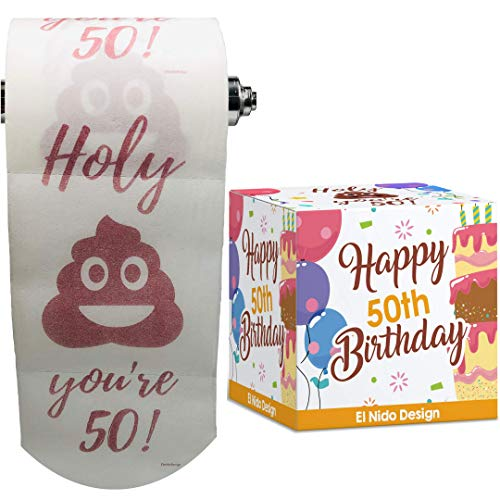 best gifts for co workers under 50 50th Birthday Toilet Paper - Happy birthday toilet paper prank– Funny 50th birthday gifts for men and women– best friend birthday gifts– Novelty Toilet paper roll gag gifts – 3 Ply (50th Birthday)