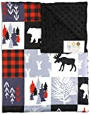 Baby Blanket - Minky, Moose, Bear, Deer Heads, Trees and Vines, Red and Black Plaid with White and Gray