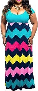 Xinantime Womens Loose Print Summer Dresses Short Sleeve Plus Size Casual Long Maxi Dress
