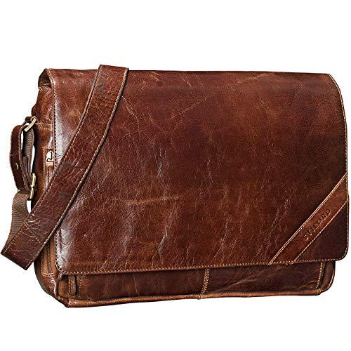 STILORD 'Nick' Umhängetasche Leder Herren Damen Unitasche 15.6 Zoll Laptoptasche Aktentasche Bürotasche Vintage Büffel-Leder, Farbe:antik - braun