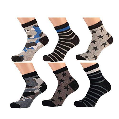 Lieblingsstrumpf24 6 er Pack Kinder Socken Jungen Mädchen Baumwolle Kurzschaft (Camouflage stern mix, 31-34)