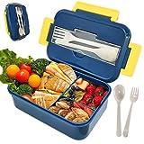 Jojobnj Caja de Bento, Lunch Box, Caja de Bento con 3 Compartimentos y Cubiertos (Tenedor y Cuchara), Fiambreras Caja de Alimentos Ideal para Almuerzo y Bocadillos para Niños y Adultos