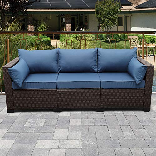 3-Seat Patio Wicker Sofa, Outdoor Rattan Couch Furniture Steel Frame with Furniture Cover and Deep Seat High Back, Blue Cushion
