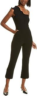 BLACK HALO Womens Black Pocketed Asymmetrical Neckline Flare Evening Jumpsuit AU Size:8