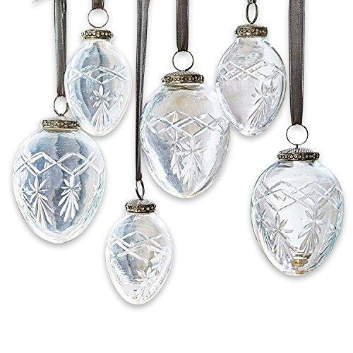 Loberon Weihnachtsschmuck 6er Set Roncey, Glas, Aluminium, klar