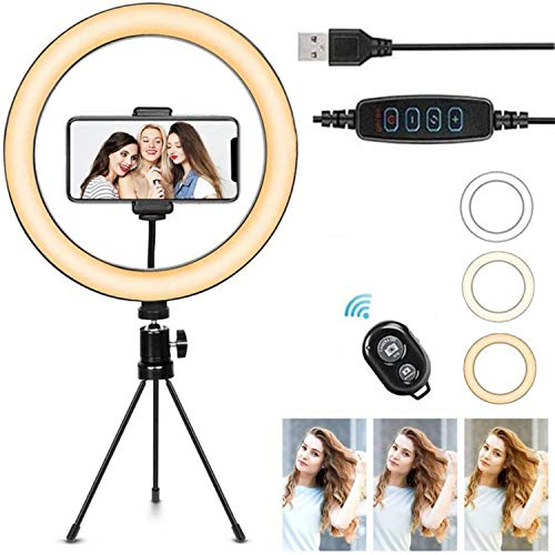HHYGR LED Ring Light with Tripod Stand Table Camera Light Lamp 3 Light Modes for YouTube Video Photo Studio Live Stream Portrait Makeup Photography