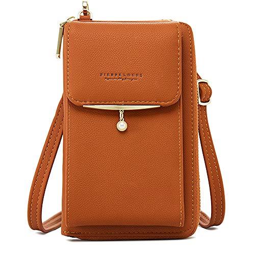 Damen Geldbörse Leder Handy Holster Wallet Case Kleine Crossbody Schultertasche Handtasche Clutch für iPhone 11 Pro 8 7/6 Plus Xs Max X Xr Samsung S10+