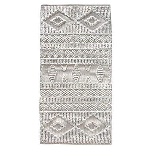 LaLe Living Tappeto DOKU con fantasia in bianco avorio in filo PET sostenibile, 150 x 80 cm, per ingresso di casa, sala da pranzo, ecologico realizzato con materiali riciclati