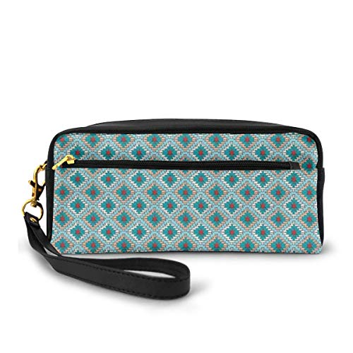Pencil Case Pen Bag Pouch Stationary,Dry Brush Ink Artistic Print Ethnic Pattern in Doodle Style with Geometrical Motifs,Small Makeup Bag Coin Purse