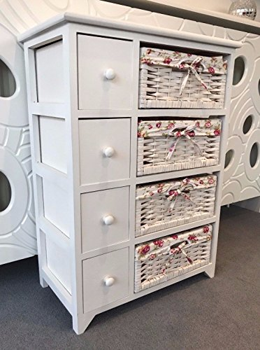 Home Delights White Chest of Drawers Shabby Chic Wicker Baskets Storage Unit Pink Bedroom