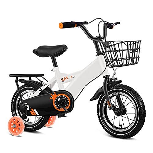 WJS Bicicletas 12 14 16 18 Pulgadas,Bicicleta Niña Niño con Ruedines Y Cesta,Bicicletas Niño 2-8 Años,Bicicletas Infantiles(Size:16inch,Color:Blanco)