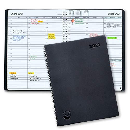 Agenda 2021 con Vista Semanal – Planificador 2021 Semana Vista – Diario Espiral que Inspira Productividad - Tapa Blanda, Intervalos de 30 minutos - Calendario Semanal A5 – en Español