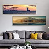 QLWLKJ Lienzo Decoración Moderna Arte Dubai Mount Bridge Carteles Imprimir Paisaje Urbano Pinturas de Pared Imágenes para la decoración de la Sala de estar-60x120cmx2 Sin Marco