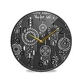 XiangHeFu Reloj de Pared Sala de Estar Funciona con Pilas Reloj de Escritorio Escolar sin tictac Reloj de Cuarzo Analógico silencioso Dreamcatcher Set