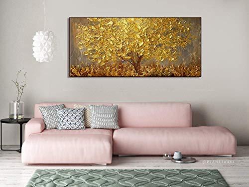 Wanddekoration, handbemalt, Landschafts-Blumen-Wandkunst, abstraktes Palettenmesser, goldfarbener Baum mit Blüten, Ölgemälde auf Leinwand, Familienzimmer, Wohnzimmer-Kunst Wanddekoration 28x56inch