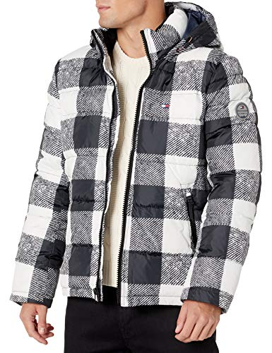 Tommy Hilfiger Men's Classic Hooded Puffer Jacket (Regular and Big & Tall Sizes), Black/White Plaid, X-Large
