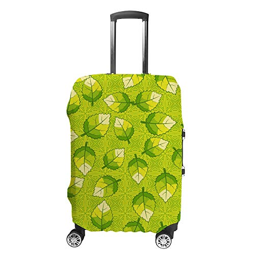 CHEHONG Suitcase Cover Luggage Cover Leaves Green Travel Trolley Case Protective Washable Polyester Fiber Elastic Dustproof Fits 22-24 Inch