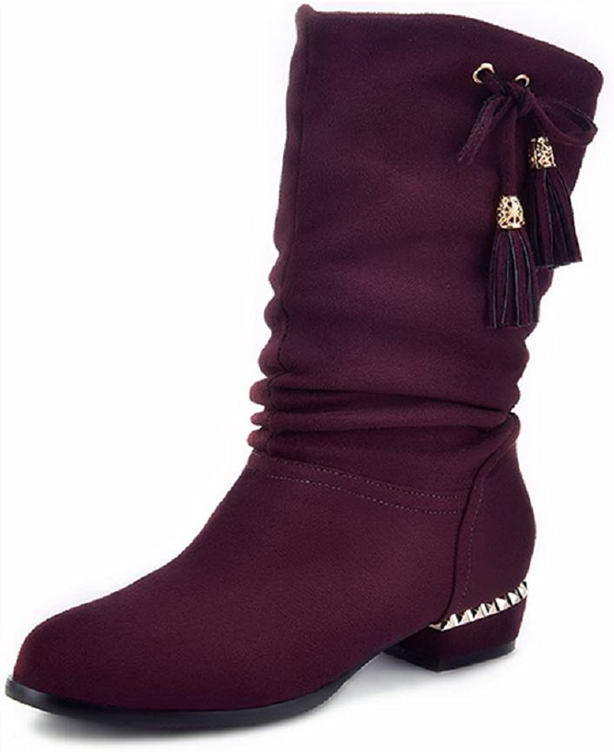 AmoonyFashion Women's Round Closed Toe Low Heels Frosted Mid Top Solid Boots