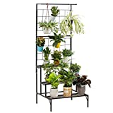 Metal 3-Tier Hanging Plant Stand Planter Shelves Flower Pot Organizer Rack Multiple Flower Pot Display Holder Shelf Indoor Outdoor Heavy Duty Planter Shelving Unit with Grid Panel