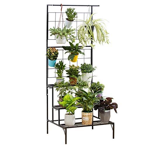 Metal 3-Tier Hanging Plant Stand Planter Shelves Flower Pot Organizer Rack Multiple Flower Pot Display Holder Shelf Indoor Outdoor Heavy Duty Planter Shelving Unit with Grid Panel