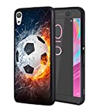Sony Xperia XA Ultra Case,BWOOLL Slim Anti-Scratch Rubber Protective Cover for Sony Xperia XA Ultra (6 inch) - Burning Football Fire Water
