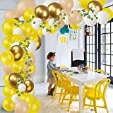 Yisscen Globo de Látex Cumpleaños Decor 94 PCS Cumpleaños Globo Amarillo de Helio Decoración de Fiesta para Dia del Padre Comunion Bodas Graduación Playa Guirnalda de Globos Fiestas de Niños