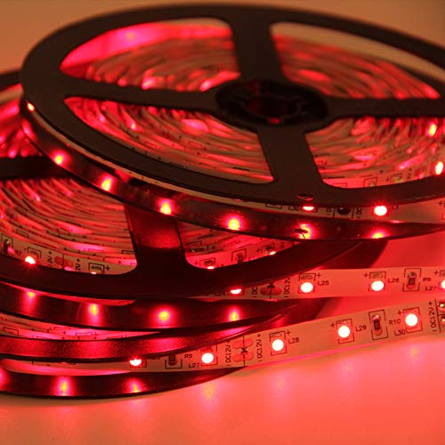 Signcomplex Flexibler LED Streifen 3528 SMD LED mit 3M Selbstklebe band 5 Meter pro Rolle 12 V DC (Rot)