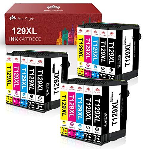 Toner Kingdom Cartuchos de Tinta Compatibles Repuesto de para Epson 129XL T1291XL-1294XL para Epson Workforce WF-3520 WF-7015 Epson Stylus SX235W SX425W Epson Stylus Office BX305FW (Paquete de 15)