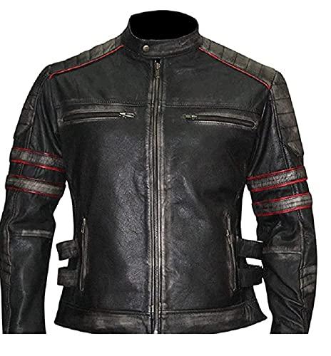 Chaqueta para hombre, color negro envejecido, para motocicleta, estilo vintage, para motociclista, retro, para motocicleta, café, corredor, color negro