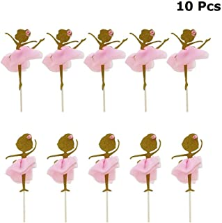 JANOU Gold Glitter Ballerina Dancing Girl Cake Toppers Cake Picks Desserts Decor with 3D Pink Skirts for Birthday Wedding Baby Shower Party Favors Pack 10pcs