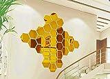 12 Pegatinas Vinilo Espejo hexágonal Adhesivo de Pared Decorativo para habitación salón baño - Mural Espejo 3D Color Dorado Medidas 184 x 160 x 92mm