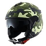 Astone Helmets Casco Jet Mini, diseño de soldado, color Verde, talla S