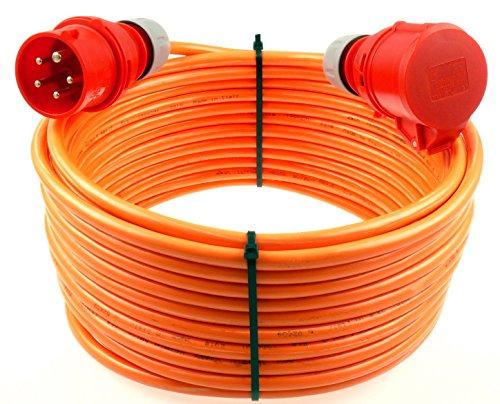 netbote24® CEE Starkstromkabel Verlängerungskabel 16A 400V Pur-Leitung mit Phasenwender H07BQ-F 5g1,5 Außen 10m