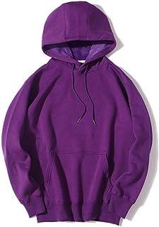 Sweatshirt Men's Plus Velvet Hooded Pullover, Autumn and Winter Plus Velvet Loose Long-Sleeved Drawstring Hooded Sweatshirt (Color : Purple, Size : L)