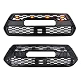 Modified Front Grille Fit for Tacoma Trd Pro 2016-2020 All Modes, Matte Black Grill Replacement with Amber Lights and Letters