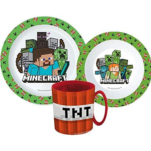 Little Flight Minecraft - Juego de vajilla escolar de plástico rígido para microondas Minecraft (1 plato, 1 taza, 1 cuenco)