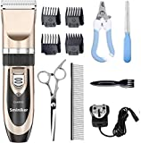 Sminiker Profession Dog Clippers Rechargeble Cordless Dog Grooming Clippers Low Noise Pet Clippers with 4 Comb Guides for Small Medium Large Dogs Cats and Other House Animals, Pet Grooming Kit