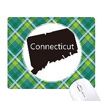 connecticアメリカ 米国のマップのシルエット 緑の格子のピクセルゴムのマウスパッド