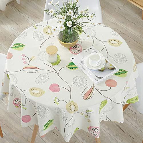 PVC-tafelkleed, rond, water- en olievrij, modern, minimalistisch, Europes, rond, voor de tuin, koeling, fruit, diameter 120 cm, geschikt voor 70-90 ronde tafel