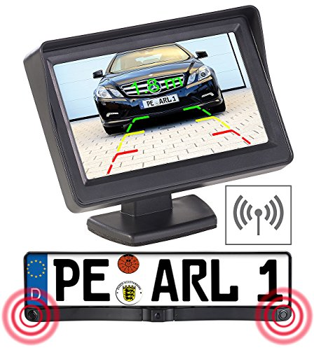 Lescars Rückfahrtkamera: Funk-Rückfahrkamera in Nummernschildhalter m. Monitor & Abstandswarner (Funk Rückfahrkameras)