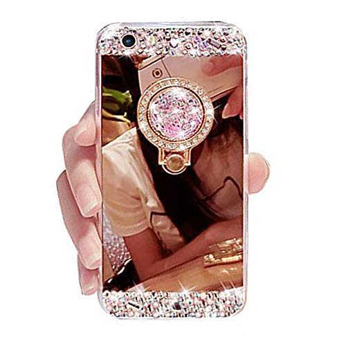 iPhone 6 Plus Case, iPhone 6s Plus Case, Black Lemon Luxury Crystal Rhinestone Soft Rubber Bumper Bling Diamond Glitter Mirror Makeup Case with Ring Stand Holder (Rose Gold)