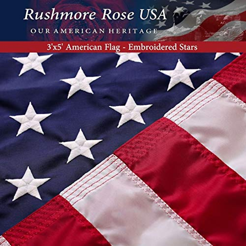 American Flag 3x5 - Made in USA. Premium US Flag. Embroidered Stars and Stripes - American Flags Made in America