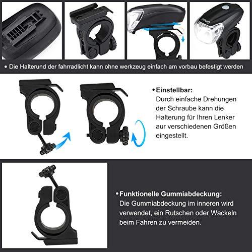 Omasi Fahrradbeleuchtung LED StVZO Zugelassen Fahrradlicht Fahrradlampe USB Wiederaufladbar Fahrrad Frontlicht Wasserdicht Fahrradleuchte 1200mAh Akku MTB Rennrad Schwarz - 5