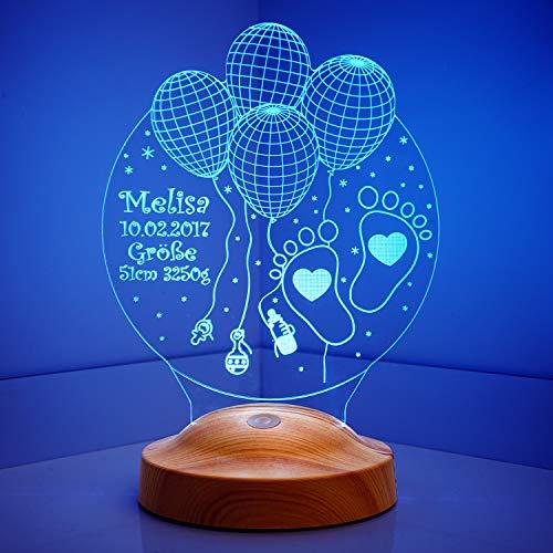 Sentidos Nachttischlampe Kinder Personalisierte Geschenke Baby Led Lampe Wunschtext Schlummerlicht Farbwechsel Deko Lampe Taufe Willkommen Baby Geschenk